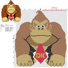 Donkey Kong Super Mario character free cross stitch pattern download