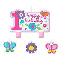 Amscan Sweet Birthday Girl 1st Birthday Candle Set, Small, Pink ** Click image for more details.