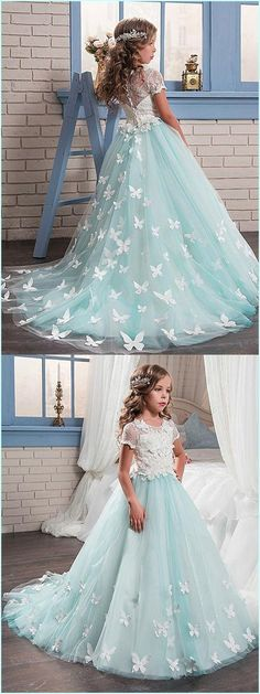 Glamorous Lace & Satin Scoop Neckline A-Line Flower Girl Dresses With Lace Appliques
