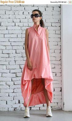 SALE Maxi Dress/Asymmetric Loose Dress/Pink Kaftan/Extravagant