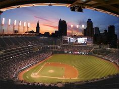 Progressive Field: Home of the Cleveland Indians - at dusk