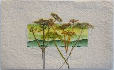 I have been making my own fabrics using paintsticks and creating abstract landscape patterns. I made a series of small wall hangings using this technique and on some of these pieces I. Landscape Art Quilts, Abstract Landscape, Free Motion Embroidery, Hand Embroidery, Creative Textiles, Flower Quilts, Tree Quilt, Textile Fiber Art, Leaf Art