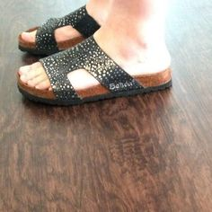 Betula Birkenstock Black Spatter Metallic Leather Sandals Shoes Women's Sz 10 41 #Betula #Slides #Casual