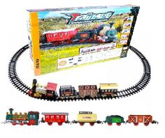 Continental Express Toy Train Set Battery Operated – 16pc with Coal Tender/Passenger Wagon/Fuel/Cargo Wagon/Animal Wagon