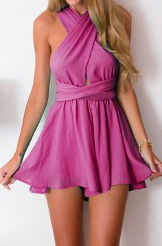 Latest fashion trends: Women's fashion | Criss-cross purple vaporous romper