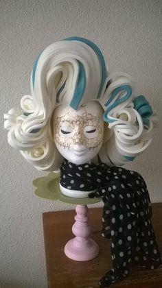 Marilyn Monroe foam wig in colors white and light blue made by Lady Mallemour Foam Studio