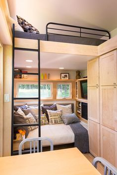 love the idea of a seating area turning in to a bed for guests! (no added loft bed, though)