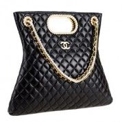 Chanel Black Quilted Tote with Pearl Chains  $285
