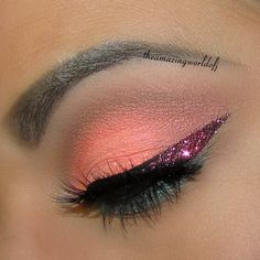 Coral Eyeshadow With Pink Shimmer Accents