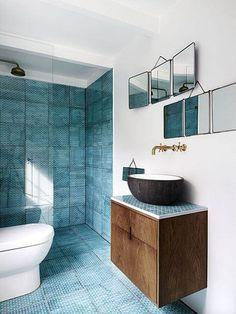 Divine Renovations Shower Tiles #Teal #Tiles #Bathroom #Design