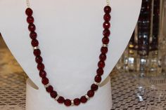 Burgundy Glass Beaded Necklace with Silver by AngeleDesignsLA, $28.00