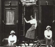 Marie, Olga, Tatiana sitting on the train in 1916.