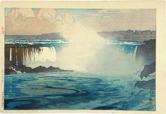 """Niagara Falls"", Hiroshi Yoshida was a Japanese painter and woodblock print maker, noted for his absolutely breathtaking landscape prints. Hiroshi Yoshida, Art Occidental, Toledo Museum Of Art, Art Asiatique, Art Japonais, Japanese Painting, Chinese Painting, Japanese Artwork, Japanese Prints"
