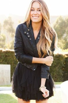 Lauren Conrad / I like the mix of #leather toughness & Girly #frufru tulle