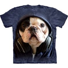 DJ Manny the Frenchie Face tee, click or dial for French bulldog shirts, gifts, and supplies that help feed shelter dogs in the USA. T Shirt Chien, Big Face, School Bags For Kids, Diabetic Dog, 3d T Shirts, Mini Vestidos, Mountain Dogs, Tye Dye, Dogs And Puppies