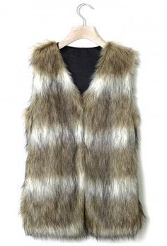Faux Fur Vest in Striped Camel - Outers - Retro, Indie and Unique Fashion