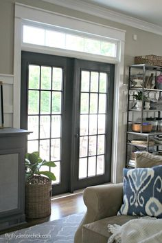 DIY black french doors with white trim - the good,. Movable, usually solid, barrier for opening and Black French Doors, French Doors With Screens, Internal French Doors, Windows And Doors, Double Doors, French Door Curtains, French Doors Patio, Sliding Patio Doors, Front Doors