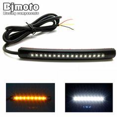 Universal Flexible LED Motorcycle Brake Lights Turn Signal Light Strip 17 Leds License Plate Light Flashing Tail Stop Lights