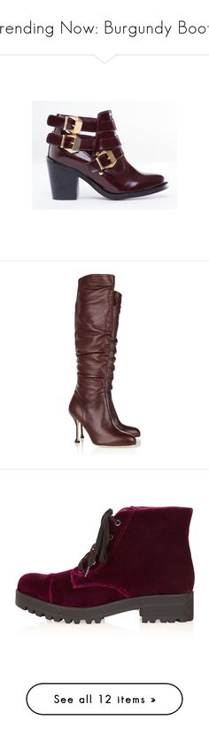"""""""Trending Now: Burgundy Boots"""" by polyvore-shopper ❤ liked on Polyvore featuring shoes, boots, ankle booties, heels, burgundy leather, heeled boots, leather boots, burgundy booties, leather booties and leather ankle booties"""