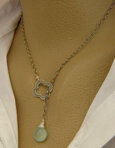 La Mediterranee (Silver Lariat Necklace . Aqua Chalcedony Necklace . Sterling Silver Charm Necklace . Blue Gemstone Necklace) on Etsy
