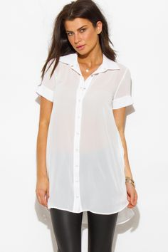 CAMILLE | white semi sheer chiffon button up tunic blouse top - 1015store.com