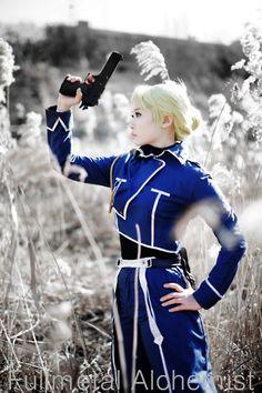 Riza Hawkeye (Fullmetal Alchemist)  SQUEE!! Now I must go buy it for my friend.