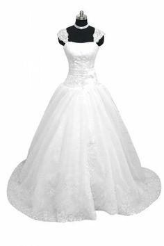 Angel Bridal Traumhaft lang Zwei-Traeger Ballkleid Organza Hochzeitskleid Brautkleid Brautmode Angel Bridal Store, http://www.amazon.de/dp/B00GSEO6TS/ref=cm_sw_r_pi_dp_AXQJtb146TRXK