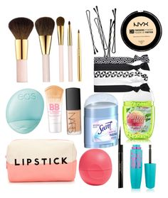"""""""Whats in my makeup bag"""" by hoppergrasser ❤ liked on Polyvore featuring beauty, Forever 21, NARS Cosmetics, Eos, AERIN, Maybelline, Elizabeth Arden, BOBBY and Secret"""
