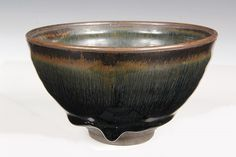 JAPANESE POTTERY - Late 18th c Raku Tea Bowl in thick ombred umber glaze, raw foot. 2 3/4