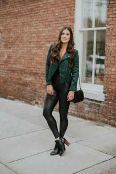 suede moto jacket, faux leather leggings, rebecca minkoff love crossbody bag, free people bodysuit, spanx leather leggings, halogen booties, fall booties, black booties, fall style, fall fashion, cute fall outfit, southern fashion blogger // grace wainwright a southern drawl
