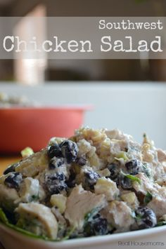 This southwest chicken salad is full of the flavors of the southwest like cilantro, corn and black beans! It's the perfect lunch, appetizer or easy summer dinner.