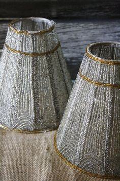 Set of 2 Vintage Beaded Lampshades Pewter and by TheFarmhousePorch, $52.00