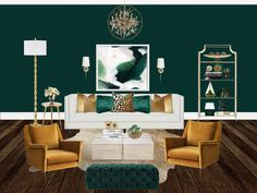 Color Combo Obsession: Designing With Green and Mustard Mustard Living Rooms, Mustard Bedroom, Living Room Green, New Living Room, Living Room Decor, Home Design, Home Office Design, Interior Design, Living Room Color Schemes