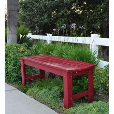 "Backless Wooden Garden Bench (Cherry Red) (18.25""H x 48""W x 17""D) by Shine Company, http://www.amazon.com/dp/B006PRPPUM/ref=cm_sw_r_pi_dp_uajBqb0Q6S2E1"