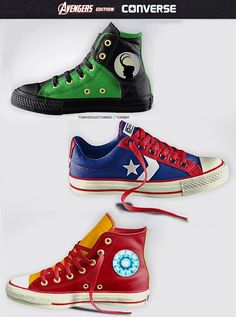 Avengers Shoes Will Kick Bad Guys' Butts - Converse - Marvel Shoes, Marvel Clothes, Marvel Marvel, Converse Wedding Shoes, Converse Shoes, Women's Converse, Custom Converse, Cute Shoes, Me Too Shoes