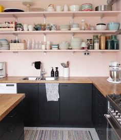 Dusty Pink Kitchen Cabinets Blush Pink Wood And Black Kitchen Design With Open Shelves African Home Decorations For Cheap Kitchen Inspirations, Pink Kitchen Decor, Home Remodeling, Home, Pink Kitchen, Kitchen Design, Black Kitchens, Kitchen Remodel, Home Decor
