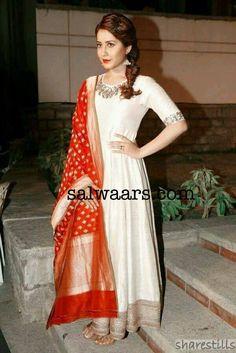 Rashi Khanna Off White Salwar Kameez - Indian Dresses Indian Suits, Indian Attire, Indian Dresses, Indian Wear, Indian Clothes, Punjabi Suits, Red Lehenga, Anarkali Dress, Lehenga Choli