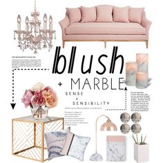 Blush + Marble by iconsoffashion on Polyvore featuring interior, interiors, interior design, home, home decor, interior decorating, Nate Berkus, Crystorama, CB2 and homedecor