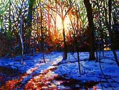 """""""Sunset on snow"""" - oil on canvas, in Landscape"""