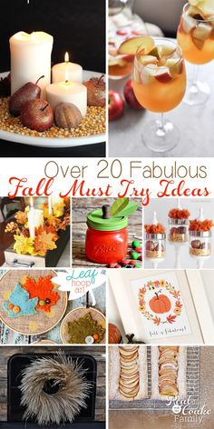 20+ fabulous fall must try ideas! Great ideas from fall decor to crafts and recipes(and some apple recipes).