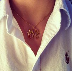 Totally my style...white polo button up + gold monogrammed necklace