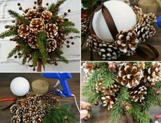 Make your own hands New Year& artifacts of cones Christmas Urns, Wall Christmas Tree, Rustic Christmas Ornaments, Beautiful Christmas Decorations, Christmas Flowers, Easy Christmas Crafts, Christmas Centerpieces, Gold Christmas, Holiday Decor