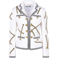 Moschino Gold Blazer ❤ liked on Polyvore featuring outerwear, jackets, blazers, white jacket, moschino, blazer jacket, moschino blazer and moschino jacket
