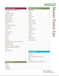 Free Printable Pantry Master List - Use It to Stock Your Pantry: Pantry Master List