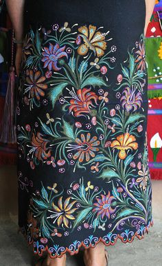 Zinacantan Chiapas Mexico (embroidery on lower half of Mexican Traditional Dress)