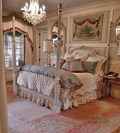 French style bedroom in a Country French house by Leo Dowell Interiors.