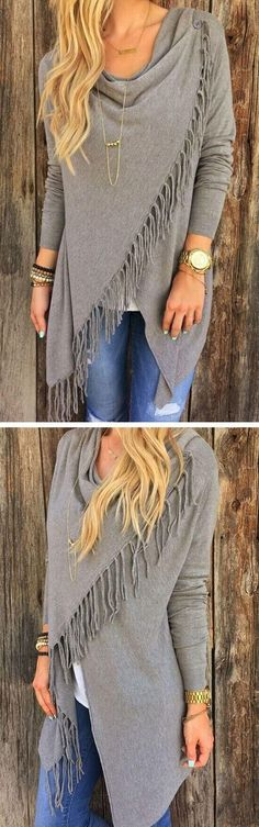 FREE SHIPPING,This coat is just what you want.She featuring simple color, tassel asymmetrical and one button front.Search more shirts and sweaters at vogueclips.com