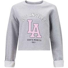 Miss Selfridge La Cropped Sweat Top, Grey (€29) ❤ liked on Polyvore featuring tops, hoodies, sweatshirts, sweaters, shirts, casacos, crop top, gray shirt, crop shirt and cropped sweatshirt