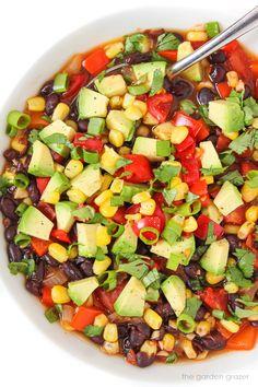 Southwest Black Bean Soup (30 Minute) Vegan Black Bean Recipes, Vegan Mexican Recipes, Meatless Recipes, Best Vegan Recipes, Soup Recipes, Whole Food Recipes, Salad Recipes, Healthy Recipes, Ethnic Recipes