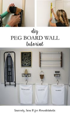 How to Hang Pegboard for PERFECT Laundry Room Storage Hang pegboard along one wall for versatile and inexpensive laundry room storage. This tutorial shows you how to hang it to be strong and stable enough to hold even heavier items, like an ironing board. Laundry Room Remodel, Laundry Room Organization, Laundry Storage, Laundry Room Design, Diy Storage, Ironing Board Storage, Storage Shelves, Laundry Shop, Laundry Rooms
